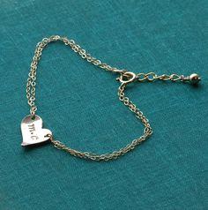 Gold Heart Bracelet  Personalized Bracelet  Hand by CharmingMetals, $34.00