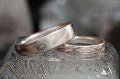 Mokume gane wedding rings - silver, yellow, white gold.