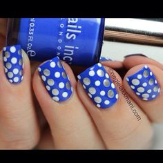 Blue with white and silver Poka dots