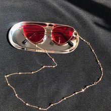Gafas Lentes De Sol Gafas Con Cuentas Cadena-Lapislázuli Azul Y Plateado