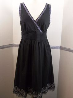 Calvin Klein Black Cotton Wrap Style with Silver metallic thread detail size 8 #CalvinKlein #WrapDress #Casual