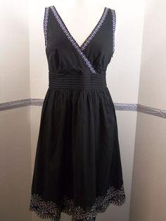 Calvin Klein Black Cotton Wrap Style with Silver metallic thread detail size 8 #CalvinKlein #WrapDress #Casual