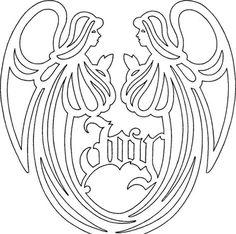 Pyrography Wood burning Angel Pattern Printable Stencil