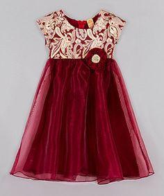 Look at this #zulilyfind! Burgundy & Gold Empire Waist Dress - Toddler & Girls #zulilyfinds