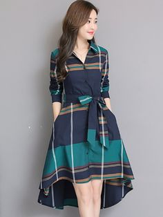 f1696a8cf33 Sashes Plaids Turn-down Collar Long Sleeves Midi Dresses  Dress   CasualDresses  Jollyhers