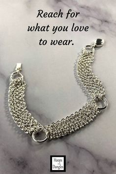 """Oct 7, 2020 - Handmade bracelet is made with five strands of cable chain between ring links. These chain bracelets fall gracefully around the wrist and handin nickel free sterling silver and go with anything and anywhere. Size:Lengths are 6"""", 6 1/2"""", 7"""", 7 1/2"""", 8"""", or 8 1/2"""" and Width is 1/2"""" Bracelet Sizing:A good guide for you"""