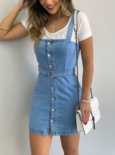 Light Denim Dress w / Buttons - Moda Bella Verão Cute Casual Outfits, Girly Outfits, Mode Outfits, Retro Outfits, Stylish Outfits, Dress Outfits, Dresses, Teen Fashion Outfits, Swag Fashion