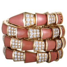 Bvlgari+Serpenti+18K+Yellow+Gold+Diamond+Pave+Spiral+Bangle+Bracelet Diamond Bracelets, Bangle Bracelets, Bangles, Bvlgari Serpenti, Bulgari Jewelry, Best Diamond, Silver Diamonds, Bracelet Designs, Spiral