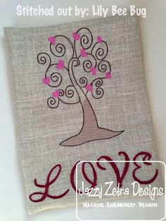 Sketch Tree with Hearts Embroidery Design: Jazzy Zebra Designs