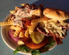 Broadway Diner -  Bacon Cheeseburger w/ PepperJack -- chili queso fries.