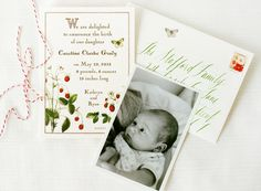 Strawberry Storybook Baby Announcements | Cynthia Warren, Maybelle Imasa-Stukuls