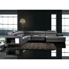 Polaris - Contemporary All Black Leather Sectional Sofa