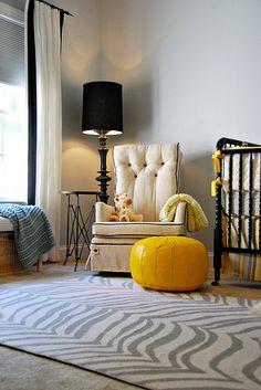 grey and yellow nursery.