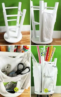 Upcycle. Barstool into craft storage