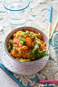 "Spaghetti Squash ""Fried Rice"" Recipe | Grain Free, Gluten Free recipe on MarlaMeridith.com"