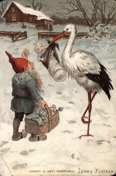 DigitaltMuseum - Julekort. Jule- og nyttårshilsen. Vintermotiv. En nisse med en gavekurv møter en stork med et spebarn. Et hus ses i bakgrunnen. Illustrert av Jenny Nyström (svensk) 1854-1946. Datert 22.12.1899.