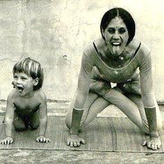 1973: Vintage yoga with mother and sun (vintage yoga photo) ...... #vintageyoga #yogahistory #yoga #1970s #yoga #yogalife #yogaworld #om