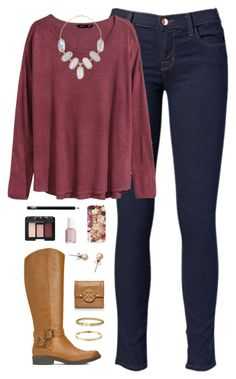 """""""rose red"""" by classically-preppy ❤ liked on Polyvore featuring J Brand, H&M, Kendra Scott, Kate Spade, Essie, NARS Cosmetics, J.Crew, Tory Burch and David Yurman"""