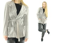 $68, Vintage 70s HALSTON Wrap Jacket Belted Blazer Gray Suede Fabric Collared Jacket 1970s Large L Trench Coat Short Jacket by ScarletFury on Etsy