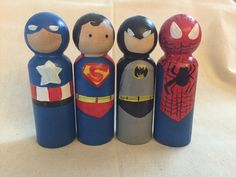 super hero painted peg dolls by LeggyBlondeShop on Etsy