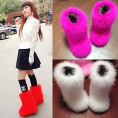 New tube Women Soft real hairy Feather furry Fur flats Snow Mid calf Boots in Clothing, Shoes & Accessories, Women's Shoes, Boots Casual Winter Outfits, Casual Boots, Furry Boots, Punk Shoes, Boating Outfit, Lace Up Booties, Mid Calf Boots, Womens Flats, Fashion Boots