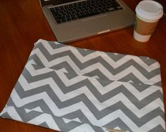 """Laptop cover, or ipad Mac Book Laptop sleeve, 13"""", 15"""", 17 INCH / Zipper close, Messenger Strap, Gray Chevron computer case,  by Darby Mack"""