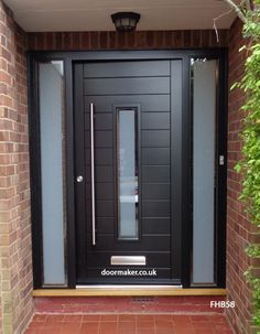 contemporary black door and sidelights