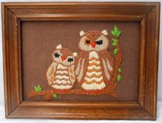 Vintage Embroidery Crewel Mama and Baby Owls by kissmyattvintage