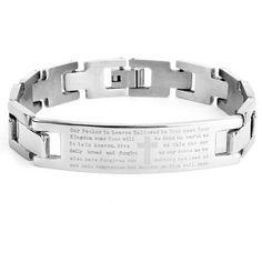 "Men's Stainless Steel Lord's Prayer ID Bracelet, 8.5"""