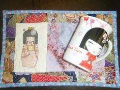 Mug rug kokeshi doll