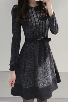 Elegant Jewel Neck Long Sleeve Color Block Worsted Dress For Women Long Sleeve Dresses | RoseGal.com Mobile
