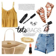 """""""In the Bag: Beach Totes (Contest Entry)"""" by raniaghifaraa ❤ liked on Polyvore featuring Miss Selfridge, Flora Bella, Kate Spade, Bobbi Brown Cosmetics and beachtotes"""
