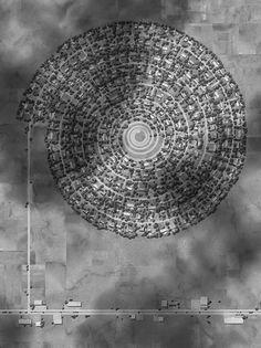 Wat als we nieuwbouwwijken nou eens wat meer als landart gaan zie? Ross Racine doet een voorstel met deze fotomontages van luchtfotos.