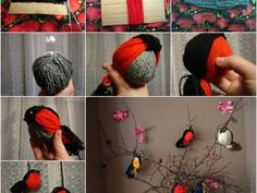 Do+you+have+any leftover+yarn+from+other+craft+projects?+Let's+make+these+cute+yarn+birdies.+They+are+super+easy+and+fun+to+make+even+with+toddlers.+Try+different+colors+of+yarn+to+make+a+colorful+collection of+birdies. Bird Crafts, Fun Crafts, Diy And Crafts, Christmas Crafts, Crafts For Kids, Christmas Tree, Christmas Ornaments, Yarn Projects, Diy Projects To Try
