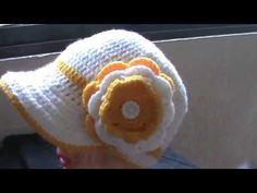 GORRA PARA NIÑA  A CROCHET 3-5 AÑOS 1 DE 3 Crochet Summer Hats, Crochet Baby Shoes, Crochet For Kids, Crochet Hats, Sombrero A Crochet, Baby Hut, Crochet Box, Knitting Blogs, Crochet Videos