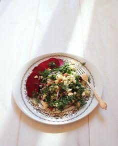 Quick Pickled Beetroot + Quinoa Greens Salad