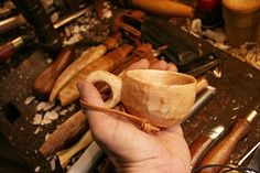 Carving tools #7: Wood cup / Kuksa - or just a wonderful way to drink a cappuccino in nature... - by mafe @ LumberJocks.com ~ woodworking community