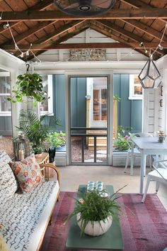 Take a backyard shed, add windows and screens for a rustic screened porch #porch #outdoor