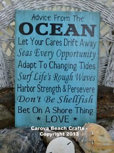 Quotes About Wedding & Love: Beach Sign Advice Ocean  Beach Wedding Coastal Wedding Beach Decor   Wood Si