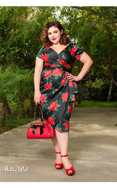 Pinup Couture- Ava Dress in Spanish Red Rose Satin - Plus Size | Pinup Girl Clothing