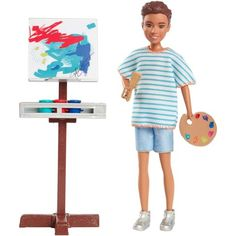 Barbie Team Stacie Art Class Playset W Boy Doll & Accessories - Mattel for sale online Peppa Pig, Barbie Online, Boys Colored Hair, Barbie Sisters, Art Easel, Young Art, Toys R Us Canada, Cardboard Art, Colorful Artwork