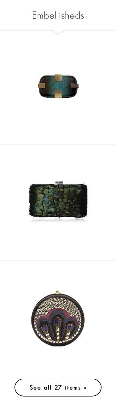 """""""Embellisheds"""" by vilen ❤ liked on Polyvore featuring Clutch, Group, handbags, bags, clutches, corto moltedo, purses, accessories, bolsos and feather handbag"""