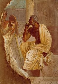 *POMPEII, ITALY ~ Fresco depicting an actor and a tragic mask, Pompeii (UNESCO World Heritage List, 1997), Campania. Roman Civilization, 1st Century.