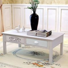 Daonanba Shabby Chic French Side Table Durable Couch Table Stable End Table Sturdy Console Table Stylish Coffee Table Wood Beautiful Home Furniture for Living Room Bedroom *** Check out this excellent product. (This is an affiliate link). Shabby Chic Coffee Table, Stylish Coffee Table, Coffee Tables For Sale, Diy Coffee Table, Coffee Table With Storage, Table Storage, Shabby Chic Furniture, Table Furniture, Living Room Furniture