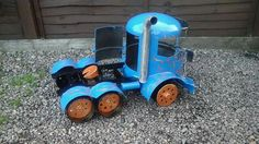 """Big-Rig Firepit Woodburner Trucks By Barry Wood @ """"CaddyshackCreations"""" Scotland.. The First Guy To Bring You These Handcrafted Gas Bottle Burners In The UK.. https://m.facebook.com/LogWoodBurners"""