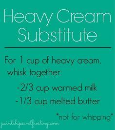 Heavy Cream Substitute - Good to know! My family is always needing heavy cream