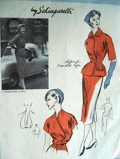 Vogue 1098 © 1950 Look at the details on the blouse and suit jacket...fantastic!