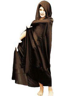 Spookachtige lange cape met capuchon voor kinderen, in zwarte kleur. Perfect voor Halloween!