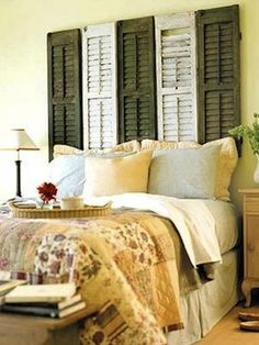 Head Board from Window Shutters, this would work for behind my bed w that stupid off center window!