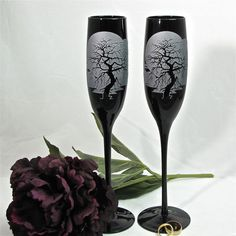 Black Champagne Flutes, Wedding Glasses With Spooky Gothic Enchanted Forest Tree - www.BradGoodellWeddings.com